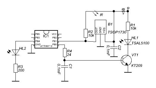 Схема датчик препятствия на ик